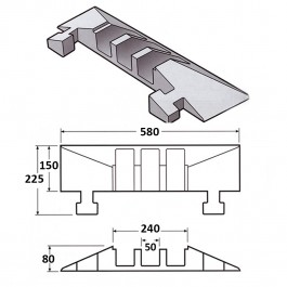 Cable Protector Male End 150L x 580W x 80H (3 Channels, 65mm x 65mm, 20 Tonnes) Technical Drawing