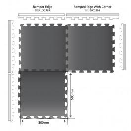 MINI POWER Gym Mat Ramped Edge 500mm x 80mm x 16mm Technical Drawing