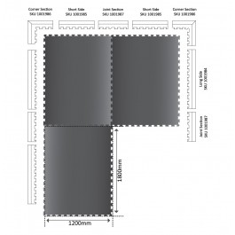 POWER Interlocking Mat Joint Section 567mm x 120mm x 17mm Technical Drawing